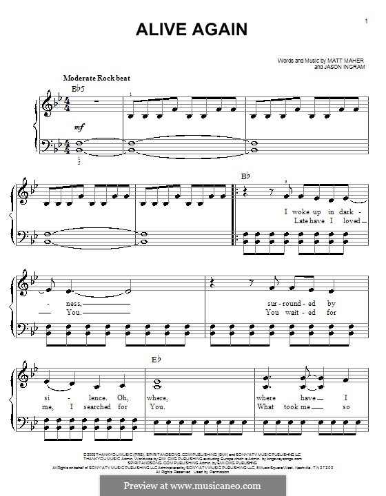 Alive Again: For easy piano by Jason David Ingram