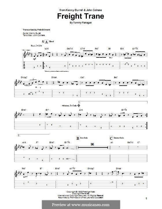 Freight Trane: For guitar with tab by Tommy Flanagan