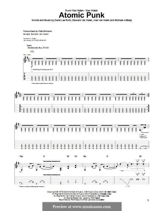Atomic Punk (Van Halen): For guitar with tab by Alex Van Halen, David Lee Roth, Edward Van Halen, Michael Anthony