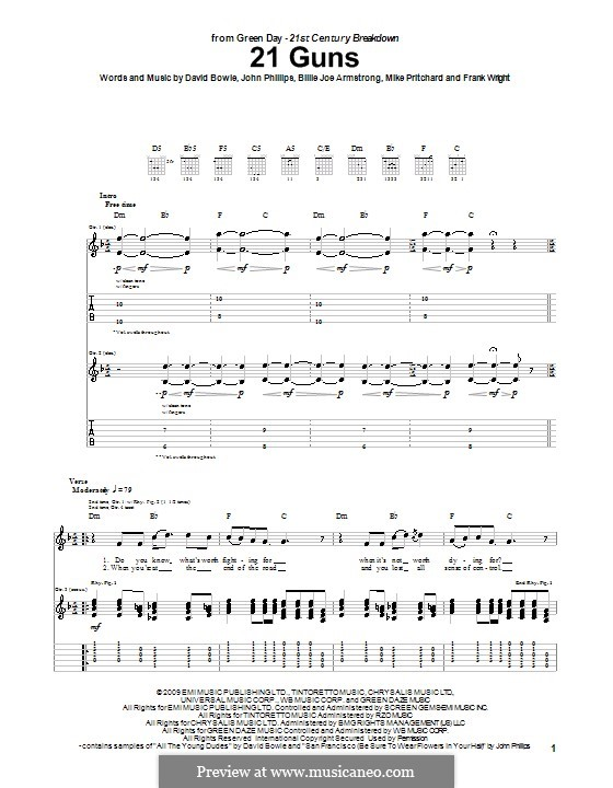 21 Guns (Green Day): For guitar with tab by Billie Joe Armstrong, David Bowie, Tré Cool, John Phillips, Michael Pritchard