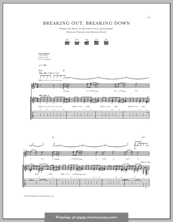 Breaking Out, Breaking Down (Bullet for My Valentine): For guitar with tab by Don Gilmore, Jason James, Matthew Tuck, Michael Paget, Michael Thomas
