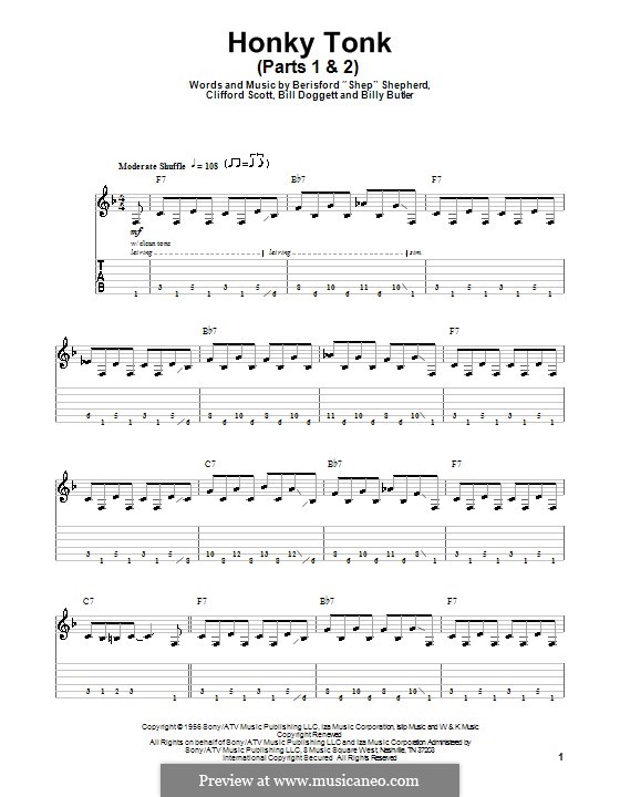 Honky Tonk: Parts I-II, for guitar with tab by Berisford Shepherd, Bill Doggett, Billy Butler, Clifford Scott