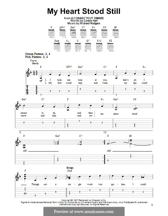 My Heart Stood Still: For easy guitar with tabulature by Richard Rodgers