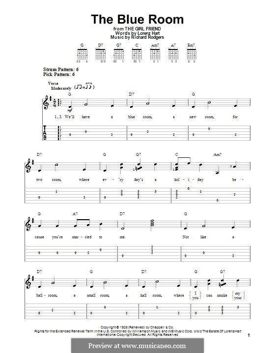 The Blue Room: For easy guitar with tabulature by Richard Rodgers