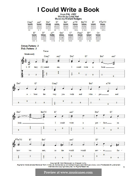 I Could Write a Book: For easy guitar with tabulature by Richard Rodgers