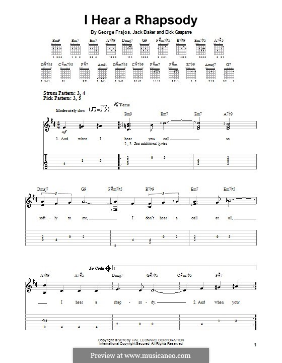 I Hear a Rhapsody: For guitar (very easy version) by Dick Gasparre, George Frajos
