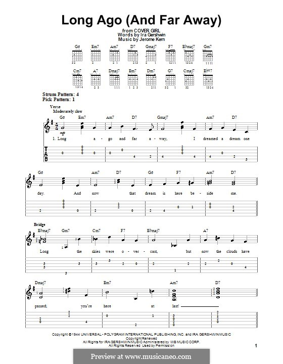 Long Ago (and Far Away): For easy guitar with tabulature by Jerome Kern