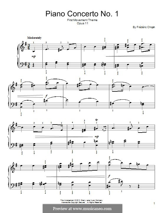 Fragments: Movement I (Theme). Version for easy piano by Frédéric Chopin