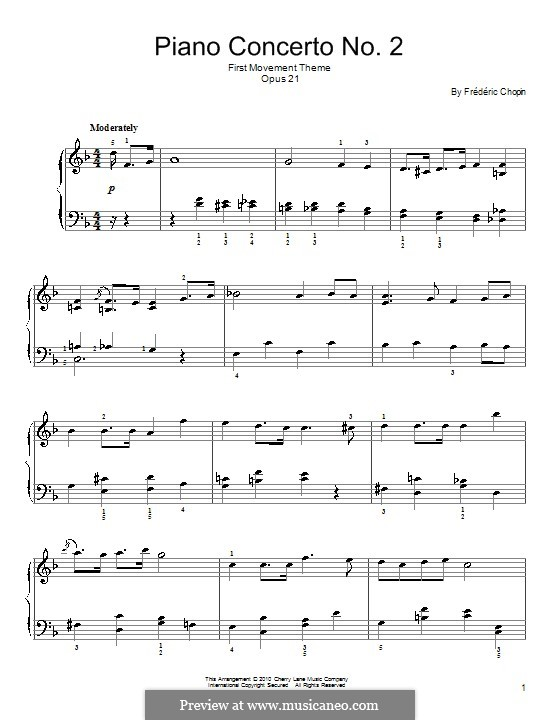 Fragmnets: Movement I (Theme). Version for easy piano by Frédéric Chopin