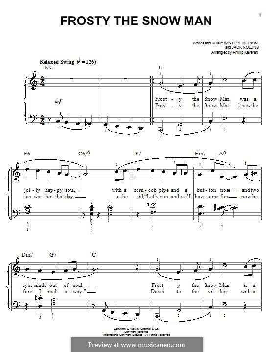 Frosty the Snow Man: For piano (Gene Autry) by Jack Rollins, Steve Nelson