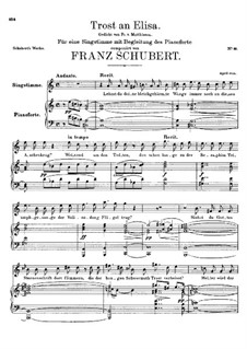 Trost an Elisa (Consolation for Elisa), D.97: C Major by Franz Schubert
