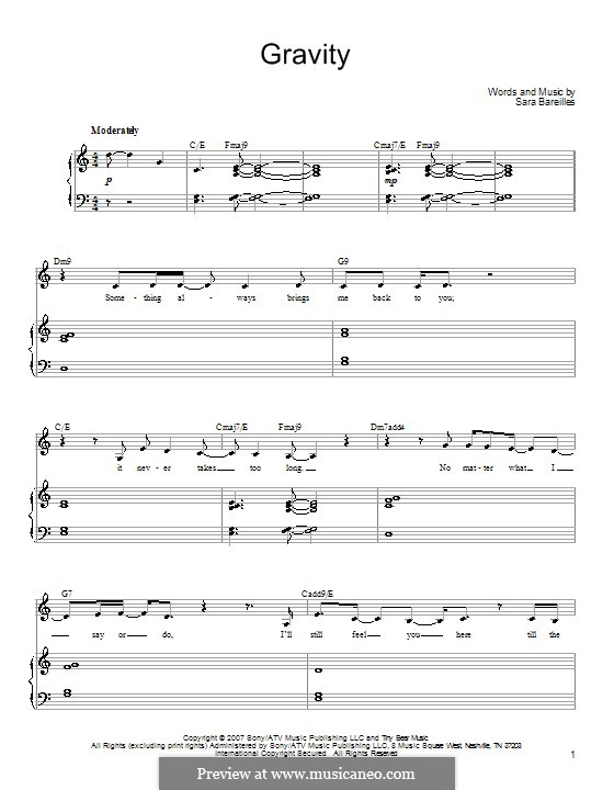 Gravity: For voice and piano (or guitar) by Sara Bareilles