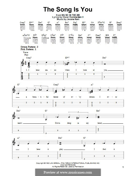 The Song is You: For easy guitar with tabulature by Jerome Kern
