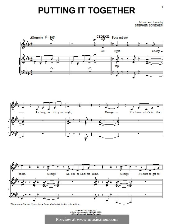 Putting It Together: For voice and piano (or guitar) by Stephen Sondheim