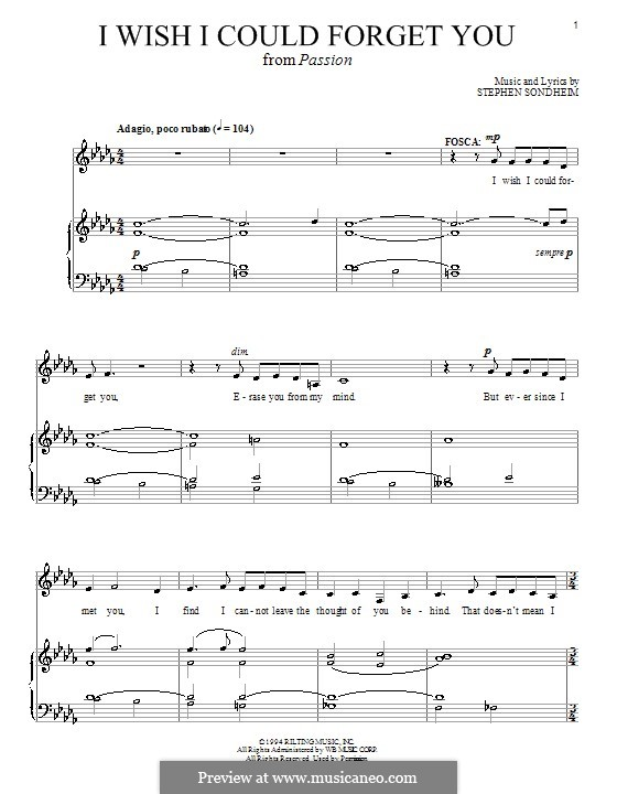 I Wish I Could Forget You: For voice and piano (or guitar) by Stephen Sondheim