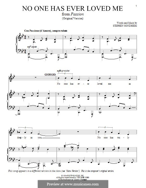 No One Has Ever Loved Me: For voice and piano (or guitar) by Stephen Sondheim