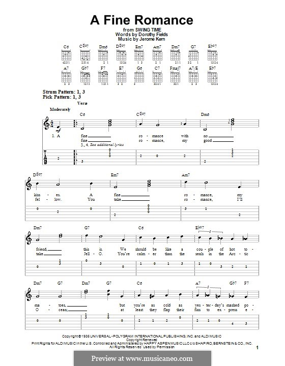 A Fine Romance: For easy guitar with tabulature by Jerome Kern