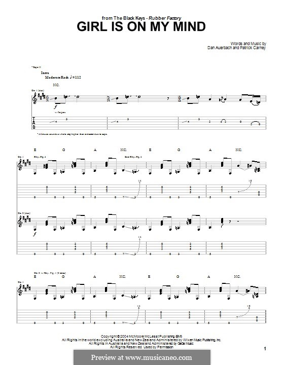 Girl Is on My Mind (The Black Keys): For guitar with tab by Daniel Auerbach, Patrick Carney