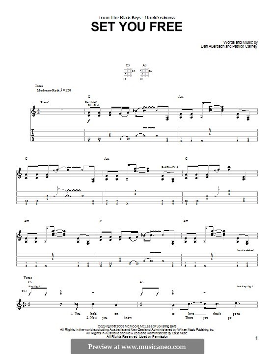 Set You Free (The Black Keys): For guitar with tab by Daniel Auerbach, Patrick Carney