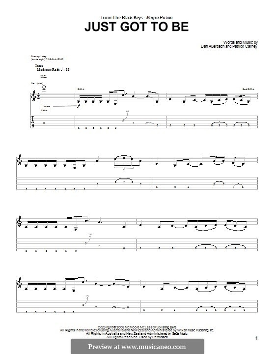 Just Got To Be (The Black Keys): For guitar with tab by Daniel Auerbach, Patrick Carney