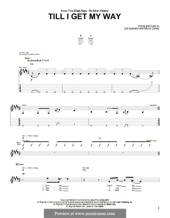 Till I Get My Way (The Black Keys): For guitar with tab by Daniel Auerbach, Patrick Carney