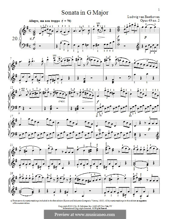 Sonata for Piano No.20, Op.49 No.2: For a single performer (high quality sheet music) by Ludwig van Beethoven