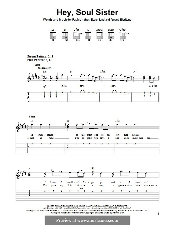 Hey, Soul Sister (Train): For guitar (very easy version) by Amund Bjorklund, Espen Lind, Patrick Monahan