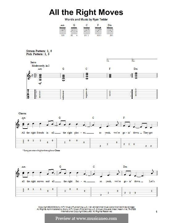 All the Right Moves (OneRepublic): For guitar (very easy version) by Ryan B Tedder
