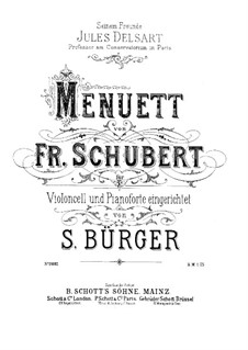 Minuet for Cello and Piano: Minuet for Cello and Piano by Franz Schubert