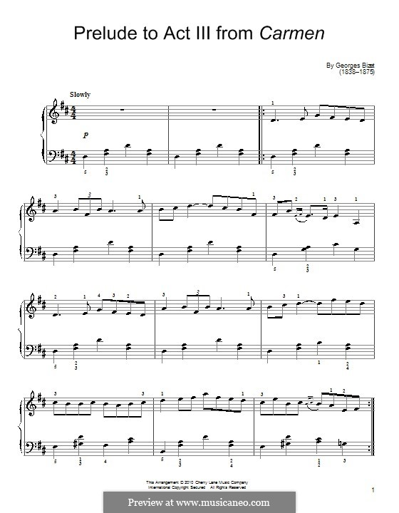 Selected Themes: Prelude to Act III, for piano by Georges Bizet