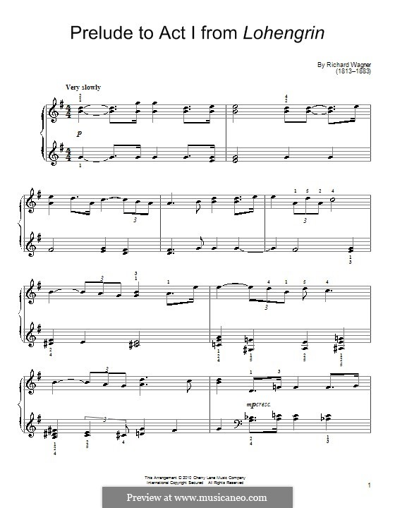 Fragments: Introduction to Act I, for piano (high quality sheet music) by Richard Wagner