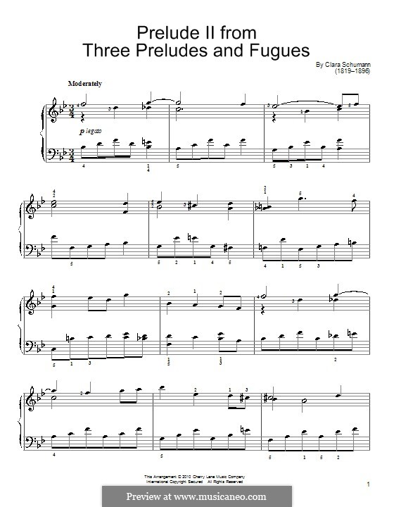 Three Preludes and Fugues, Op.16: Prelude No.2 by Clara Schumann