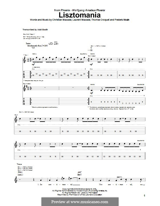 Lisztomania Phoenix By C Mazzalai F Moulin L Mazzalai T