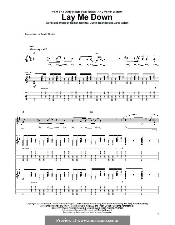 Lay Me Down (The Dirty Heads featuring Rome): For guitar with tab by Dustin Bushnell, Jared Watson, Roman Ramirez