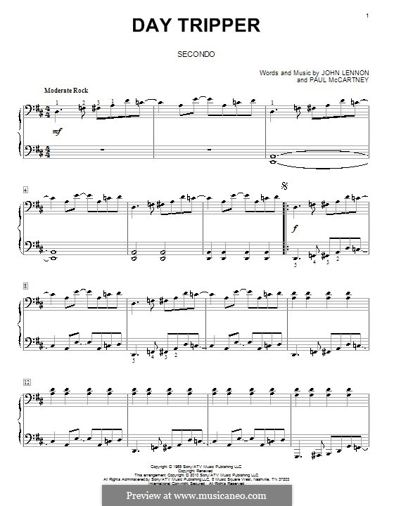 Day Tripper (The Beatles): For piano four hands by John Lennon, Paul McCartney
