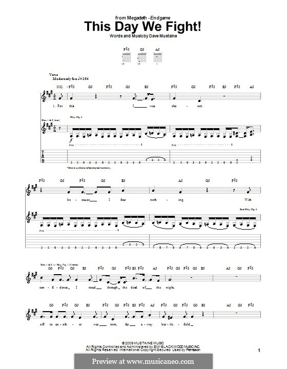 This Day We Fight! (Megadeth): For guitar with tab by Dave Mustaine