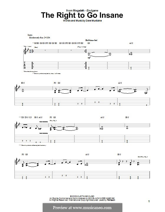 The Right To Go Insane (Megadeth): For guitar with tab by Dave Mustaine