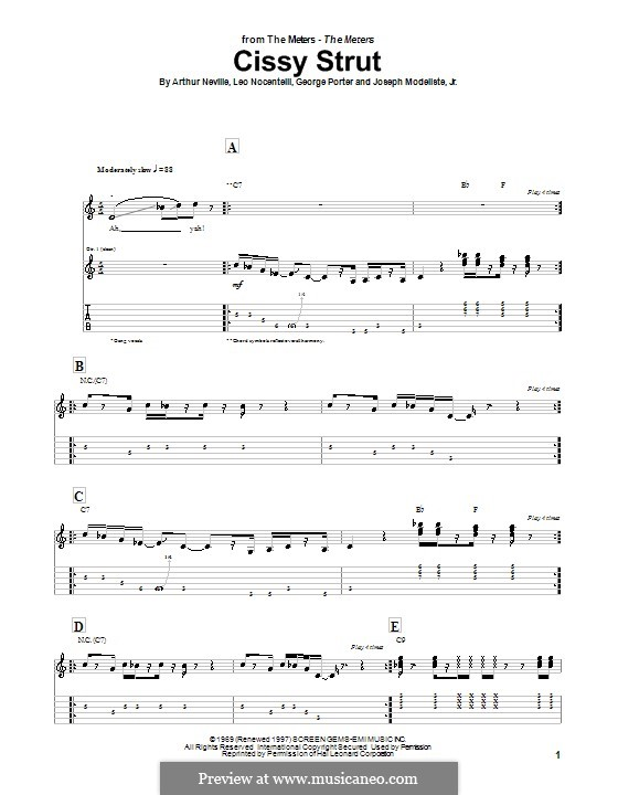 Cissy Strut (The Meters): For guitar with tab by Arthur Neville, George Porter, Joseph Modeliste Jr., Leo Nocentelli