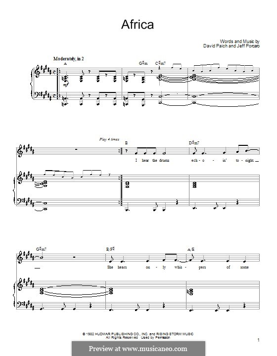 Africa (Toto): For voice and piano (or guitar) by David Paich, Jeff Porcaro