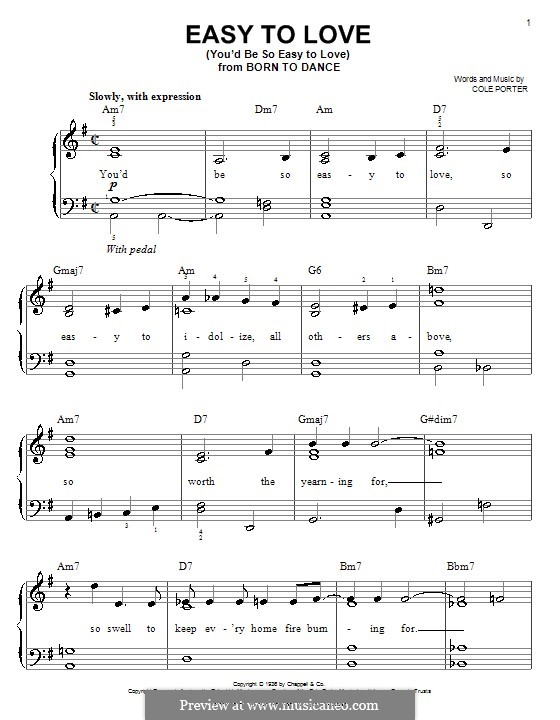 Easy to Love (You'd Be So Easy to Love): For easy piano by Cole Porter