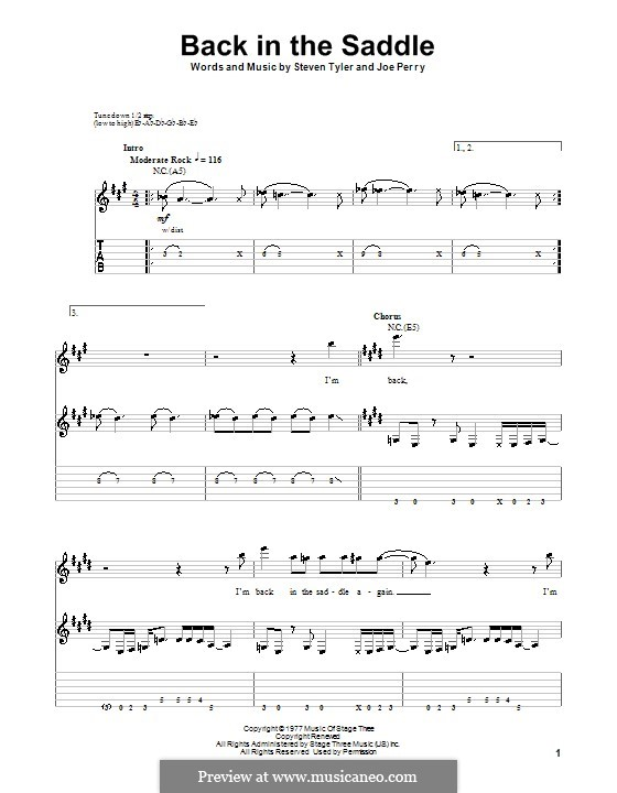 Back in the Saddle (Aerosmith): For guitar with tab by Joe Perry, Steven Tyler