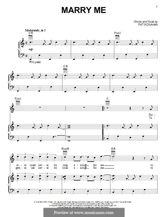 Marry Me (Train): For voice and piano (or guitar) by Patrick Monahan