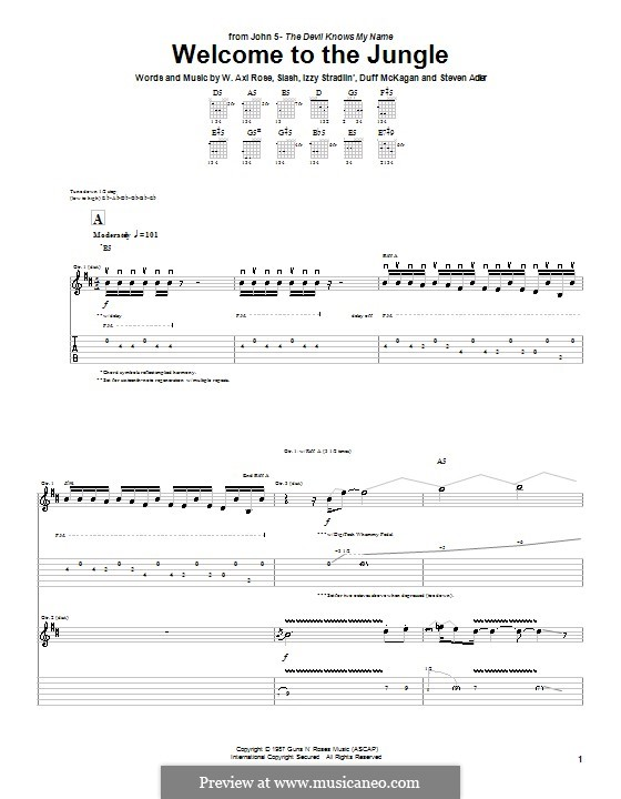Welcome to the Jungle (Guns N' Roses): For guitar with tab (John 5) by Slash, W. Axl Rose, Duff McKagan, Izzy Stradlin, Steven Adler