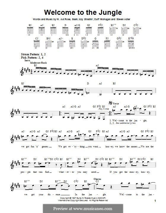 Welcome to the Jungle (Guns N' Roses): For guitar with tab by Slash, W. Axl Rose, Duff McKagan, Izzy Stradlin, Steven Adler