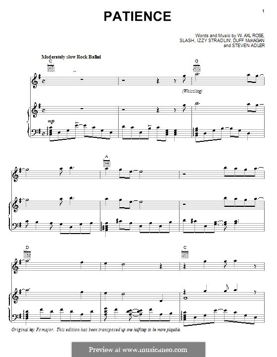 Patience (Guns N' Roses): For voice and piano (or guitar) by Slash, W. Axl Rose, Duff McKagan, Izzy Stradlin, Steven Adler