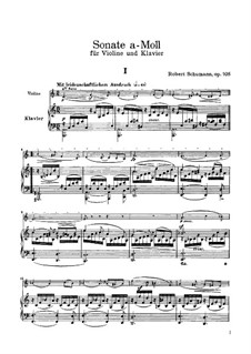 Sonata for Violin and Piano No.1 in A Minor, Op.105: Score, solo part by Robert Schumann