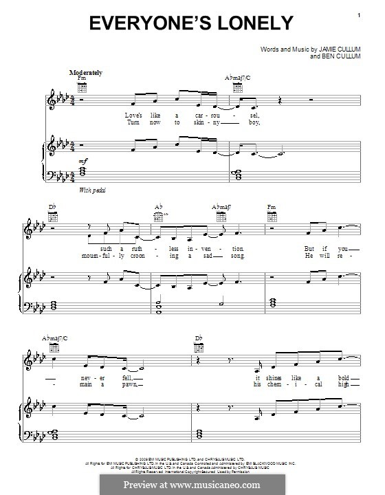 Everyone's Lonely: For voice and piano (or guitar) by Ben Cullum
