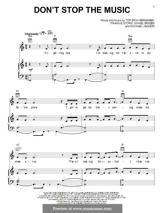 Don't Stop the Music: For voice and piano or guitar (Jamie Cullum) by Frankie Storm, Michael Jackson, Mikkel Storleer Eriksen, Tor Erik Hermansen