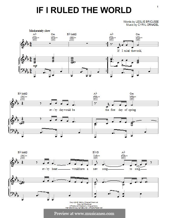 If I Ruled the World: For voice and piano (or guitar) by Cyril Ornadel