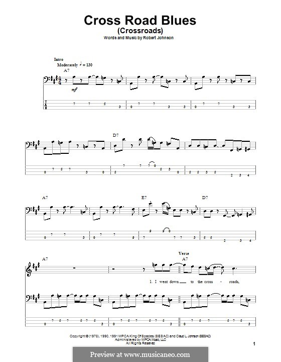 Cross Road Blues (Crossroads): For bass guitar with tab by Robert Leroy Johnson